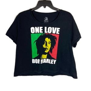 Bob Marley One Love Graphic Tee Cropped Top